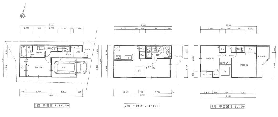 東難波町3丁目限定1棟 3LDKフリープラン提案図